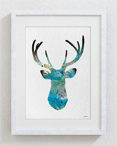 Blue Deer Watercolor Print - 5x7 Archival Print - Deer Painting - Deer Art Print - Wall Decor Art Home Decor Housewares via Etsy