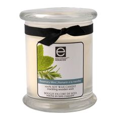 New 55 Hour Rosemary Mint Scent 100% Organic Soy Wax 12 oz Candle with Crackling Wooden Wick $19.95