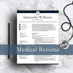 Medical Resume Template For Word U0026 Pages | 1, 2 And 3 Page Resume Template, Cover  Letter, Icon Set | Nurse Resume | Instant Download
