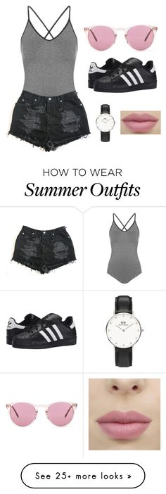 """""""Summer outfit"""" by mnpe on Polyvore featuring Topshop, Daniel Wellington, adidas Originals and Oliver Peoples"""