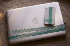washi tape on laptop and phone