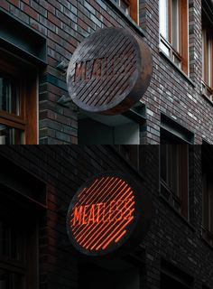 restaurant concept Corporate Identity in brutal style for a new meat restaurant in the city center of Moscow Grill is a major feature of the restaurant concept which is reflected in the Identity.Designed for the Bureau Bumblebee Deco Restaurant, Restaurant Signs, Restaurant Concept, Restaurant Branding, Retail Signage, Wayfinding Signage, Signage Design, Store Signage, Architecture Restaurant