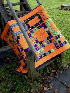 Halloween quilted table runner by frimart | Black Cat Crossing blog hop