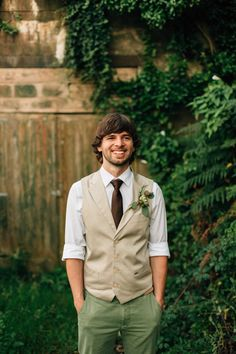 Waistcoat Groom Brown Tie Green Trousers Chinos Bohemian Origami Guernsey Wedding http://janiceyiphotography.ca/