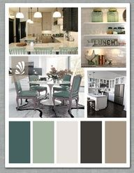 Emerald green, Sage, Vanilla, Espresso and Taupe for an open Kitchen. or a bathroom. Liking the color combos