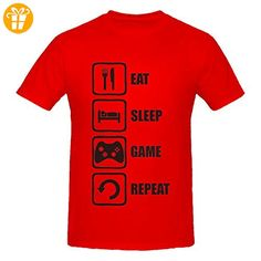 Eat Sleep Game Repeat Black Graphic Men's T-Shirt XX-Large (*Partner-Link)