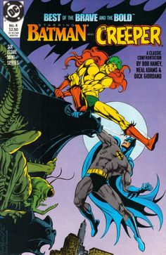 """This cover by JLGL from an Ed Hannigan layout; cover story by the names on the cover (also see the actual cover inside)! """"And Hellgrammite Is His Name"""" of the menace, pictured as a gargoyle (you haven't seen a creepy Creeper until you've seen Neal Adams draw him). Fan-turned-pro Peter Sanderson writes a tribute to pro Russ Heath, the artist of """"Golden Gladiator"""" and """"Robin Hood""""; besides those features, """"Viking Prince"""" drawn by Joe Kubert bravely and boldly goes where no hero has gone…"""