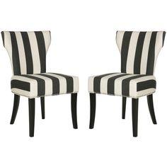 Safavieh Black U0026 White Stripe Raza Side Chair   Set Of Two