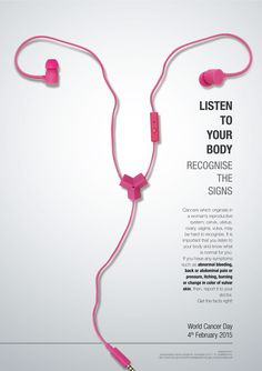 World Cancer Day: Poster Design Example Creative Advertising, Ads Creative, Advertising Poster, Advertising Campaign, Advertising Design, Marketing Poster, Good Advertisements, Creative Ideas, Creative Poster Design