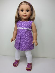 American Girl doll clothes   purple pleated tunic & white leggings by JazzyDollDuds