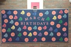 March Madness! Birthday Bulletin Board Basketballs and Megaphones