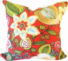 Red and Gold Floral Outdoor Mill Creek by PillowTimeGirls on Etsy