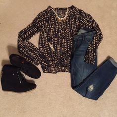 """""""I A Sheer You, This Is Adorable"""" sheer Poka dot Black with tan poka dots sheer long sleeve tie top. Gold button closure The Limited Tops"""