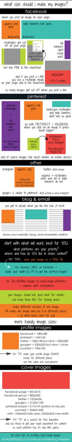 Best Size Guide for Blog Images & Social Media | Build a Little Biz #blogging #socialmediatips
