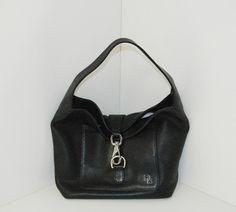 Dooney Bourke Black Leather Spring Hook Buckle Shoulder Bag Nice   eBay