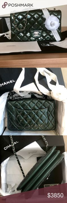 8fdf5961dbf0 Chanel Patent Bag 2014 Stunning Chanel green color patent bag with silver  hardware.Pre-
