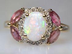 Fine Australian Opal Diamond Rubellite Tourmaline Ring