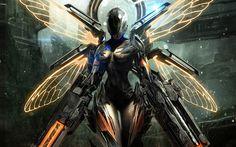 Anime Girls Sci-Fi Armor | girl fairy armor gun fantasy sci-fi robot cyborg weapon wallpaper ...