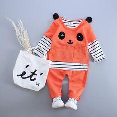 Baby Girl Clothes Baby Boy Clothes(Long Sleeve Striped Shirt+Panda Shirt+Pants)Baby Clothing Sets