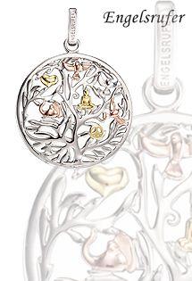 Colgante de plata de ley 925 milésimas de Engelsrufer con el árbol de la vida y motivos naturales bañados en oro amarillo y rosa.