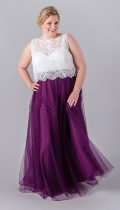 Kennedy Blue Plus Size Bridesmaid Two-Pieces   6 Incredibly Flattering Plus Size Bridesmaid Dresses
