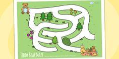 Teddy Bears Picnic Maze Activity Sheet - teddy, bears, game, mazes, animals