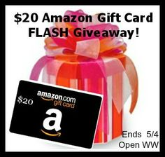 $20 Amazon Gift Card FLASH Giveaway {Ends 5/4}  **ENDS 5/4!** HURRY! HURRY! :) http://www.styledecordeals.com/2014/05/20-amazon-gift-card-flash-giveaway-ends.html