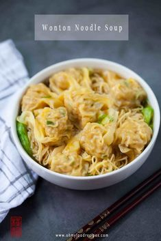 Authentic Hong Kong Cantonese wonton noodle soup often serves in hot broth with fresh Cantonese egg noodles, wonton and leafy vegetables. Wonton Noodle Soup, Wonton Noodles, Egg Noodles, Noodle Dish, Noodle Soups, Pork Salad, Chicken Wontons, Italian Appetizers, Asian Noodles