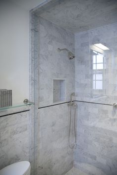 Master Bath - Marble Tile Shower  The master bath was done in our Carrara Honed marble and is beautifully detailed. The transitions are absolutely impeccable and flawlessly planned.  www.completetile.com/products/stone/marble-tile-and-slab/honed-marble-tile/carrara      http://www.completetile.com/products/stone/marble-molding-and-liners/marble-chair-rails/thassos-polished-custom-molding-5