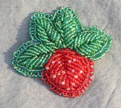 Iroquois Raised Beading Strawberry Brooch