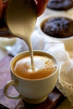 Great coffee recipe at home 1.  Put 2 tsp. of instant coffee (best you can find) and 1 tsp. of white sugar in a cup. 2.  Add 1 tsp. of milk and mix thoroughly.  Texture s/b like a thick smoothie. 3.  Bring 1 cup whole or 2% milk to a boil on stovetop (watch it, b/c it will spill over quickly once boiling). 4.  Pour milk in the cup.  DRINK - YUMMY!!!