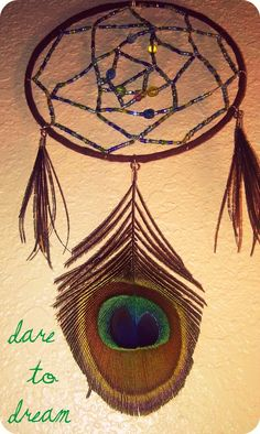 Beaded Dream Catcher with Peacock Feather