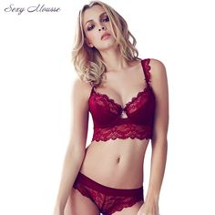 7f9d7dfef9543 Sexy Mousse Women Sexy Bra Set Ultra thin Red Black Lace Bras Underwear  Plus size Push up Bra and Panties Set Cup A B C D-in Bra   Brief Sets from  Women s ...