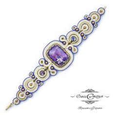 "Soutache bracelet ""Pharaoh"" by Olga Staruk with Swarovski elements and natural stone variscite. Work performed on the order."