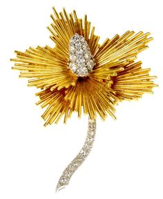 18ct. Gold and Diamond Floral Brooch