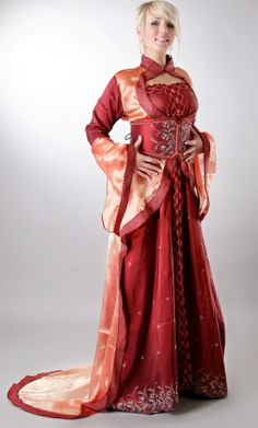 clan 1 slim fitting gown with robes over, belted high on the waist