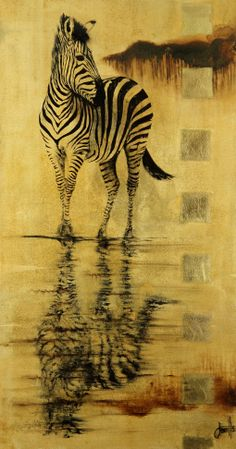 Jan Coutts | Reflection by the Waterhole | Oil on Canvas | 75 x 40 x 3 cm |