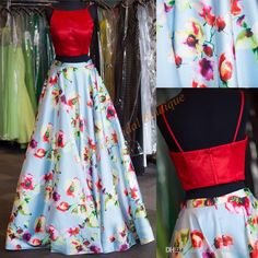 Print Floral Prom Dresses 2017 Famous Designer With Red Satin Top And Petal Power Skirt Crop Top Ring Dance Gowns Promdresses Short Prom Dress From Uniquebridalboutique, $157.19  Dhgate.Com