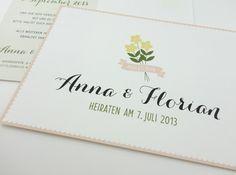 Individuelle Save the Date-Karten Blumenkranz von anmutig – lovely things auf DaWanda.com