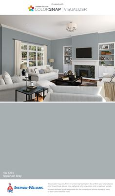 I found this color with ColorSnap® Visualizer for iPhone by Sherwin-Williams: Uncertain Gray (SW 6234).