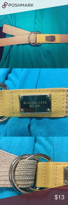 """MichaelKors Stretch Woven w FauxLeather Trim Belt Mustard Yellow Trim with Shiny Brass Hoop Rings and logo plate. Size L/XL (43"""" long). MICHAEL Michael Kors Accessories Belts"""