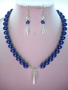 Navy Blue 12mm Pearl Necklace with Silver by DesignsbyPattiLynn