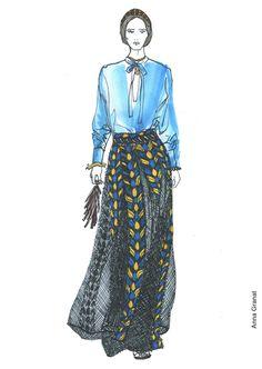 Anna Granat Fashion Illustration, Valentino Spring 2014; #fashion #illustration #fashionillustration #aquarelle #ink #art #annagranat #valentino