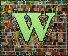 Mosaic Letter W - The Tieton Alphabet  Tieton Mosaic is a mosaic sign company in Tieton, WA specializing in typographic glass mosaic signage