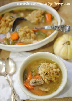 Soup Recipe. Turkey Dumpling Stuffing Soup -- what a great way to use leftover stuffing from Thanksgiving dinner!