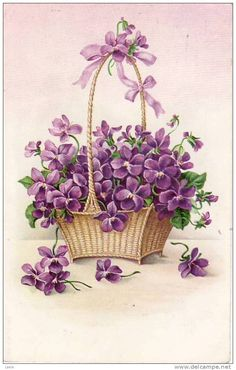 A painted illustration of a basket of overflowing violet flowers. How sweet. Vintage Diy, Vintage Paper, Vintage Greeting Cards, Vintage Postcards, Vintage Pictures, Vintage Images, Illustration Blume, Sweet Violets, Decoupage Paper