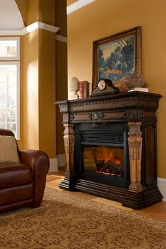 Newest No Cost Electric Fireplace victorian Concepts The St. Andrews Electric Fireplace features a two toned finish that is carved from pine. Farmhouse Fireplace, Fireplace Mantle, Fireplace Surrounds, Fireplace Design, Fireplace Fronts, Victorian Fireplace, Mantle Clock, Best Electric Fireplace, Electric Fireplaces