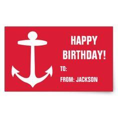 Nautical Anchor Happy Birthday Personalized Gift Rectangular Sticker - birthday gifts party celebration custom gift ideas diy