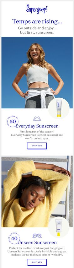 supergoop SPF email. Here comes the sun, finally!