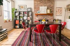 Jessie & Jon's Colorfully Collected Home — House Tour Greatest Hits Ikea Living Room, Living Spaces, Sweet Home, Wooden Side Table, Apartment Living, Apartment Therapy, Dining Area, Dining Chair, Dining Rooms